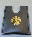 Leather firefighter credit card wallet w/maltese cross stamp - GOLD