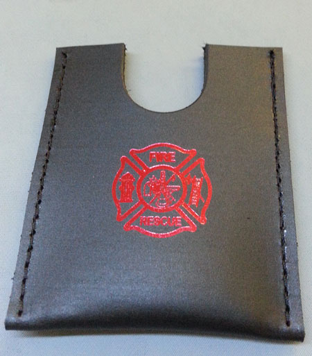 Leather firefighter credit card wallet w/maltese cross stamp