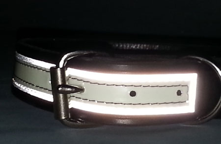 1 1 4 Inch Wide Leather K 9 Dog Collar Glow Reflective