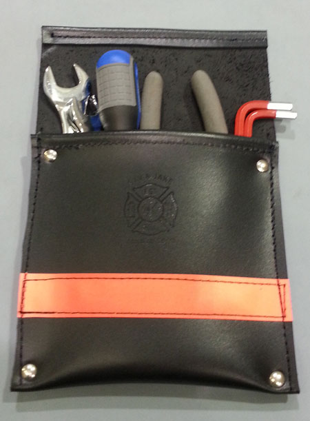 Leather Pocket Firefighter Tool Pouch Black W 3m Orange