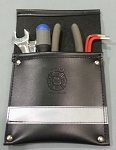 Leather Pocket Firefighter Tool Pouch - Black w/3M Silver Reflective