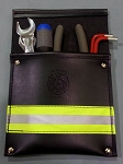 Leather Pocket Firefighter Tool Pouch - Black w/3M Yellow/Silver Reflective