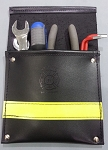 Leather Pocket Firefighter Tool Pouch - Black w/3M Yellow Reflective