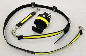 Ultralite WILDFIRE 1.5 inch wide Radio Strap Combo Set - Black w/3M Fire Resistant Yellow Reflective