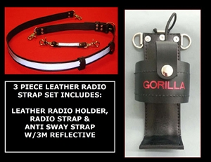 Firefighter Leather 1.5 inch wide Radio Strap & Holder Set 3M Silver Scotchlite