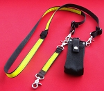 Ultralite 1.5 inch wide Nylon Full Pocket Firefighter Radio Strap Combo Set - Black w/3M Yellow Reflective