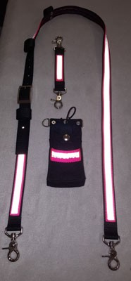 1 inch wide Nylon Radio Strap and Full Pocket Holder set - compact radios- HOT PINK 3M Silver Reflective