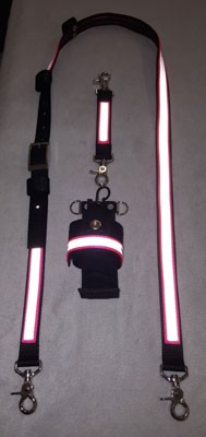 1 inch wide Nylon Radio Strap Set - Motorola APX 7000 - HOT PINK and 3M Silver Reflective