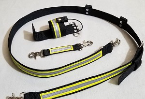 1.5 inch wide Nylon Radio Strap Set for compact radios - 3M Yellow/Silver Reflective