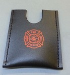 Leather firefighter credit card wallet w/maltese cross stamp - RED