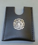 Leather Firefighter credit card wallet w/maltese cross stamp - SILVER
