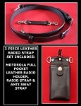 Firefighter Leather Radio Strap & Motorola Full Pocket Holder Set Solid Black