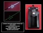 Firefighter Glow/Reflective Leather Radio Strap & Motorola APX 6000 XE Open Window Holder Set