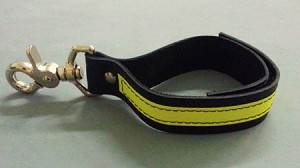 Leather Firefighter Glove Strap w/3M Yellow Reflective & trigger snap clip