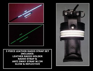 Firefighter Glow/Reflective Leather Radio Strap & Motorola APX 6000 Holder Set