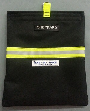SCBA Firefighter Mask Bag - Black w/3M Triple Yellow Reflective Stripe - NOW WITH OPTIONAL PERSONALIZATION!