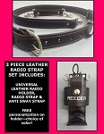 Firefighter Leather PINK LINE Radio Strap & Holder Set