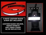 Firefighter 3 Piece Leather Motorola APX 6000 Radio Strap Set 3M Silver Scotchlite