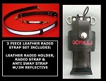 Firefighter Leather Radio Strap & Compact Size Holder Set 3M Silver Scotchlite