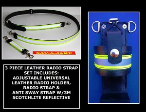 Firefighter Leather Radio Strap Set 3M Triple Yellow Reflective Motorola HT1250, APX 4000, XPR 7000, CP 200/Compact Radios