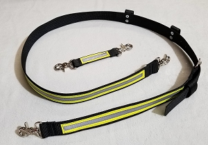 1.5 inch wide Nylon Radio Strap Set - 3M Yellow/Silver Reflective