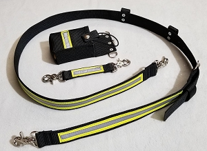 1.5 inch wide Nylon Full Pocket Radio Strap Set - 3M Yellow/Silver Reflective