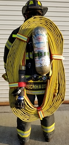 Cleveland Load Fire Hose Straps Metal Tribar - Black w/3M Triple Yellow Reflective