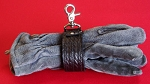 Wide Body BASKETWEAVE EMBOSSED Glove Strap - BLACK LEATHER