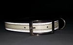 1 inch wide Leather K-9 Dog Collar - Glow/Reflective trim - MED, LG, XL - from $21.99