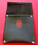 Leather Pocket Firefighter Tool Pouch - Black w/Red Maltese Cross