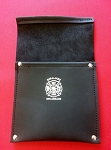 Leather Pocket Firefighter Tool Pouch - Black w/Silver Maltese Cross