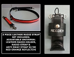 Leather Firefighter 1.5 inch wide Radio Strap & Holder Set 3M Fire Resistant Red-Orange Reflective - Choice of Radio Holder