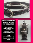 Firefighter Leather PINK LINE Radio Strap & Motorola APX 6000 Holder Set