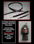 Leather Firefighter Radio Strap & Motorola APX 6000/8000 Holder Set