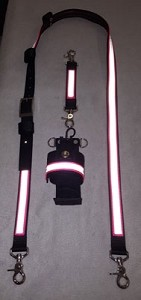 1 inch wide Nylon Radio Strap Set - HOT PINK with 3M Silver Reflective
