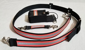 1.5 inch wide Nylon Radio Strap Combo set - compact radios- 3M Orange/Silver Reflective