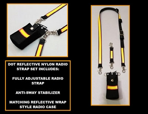 DOT Road Ranger 1.5 in. wide Nylon Full Pocket Radio Strap Set for Compact Radios - 3M Yellow/Orange Reflective