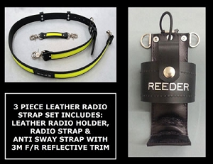 Leather Firefighter 1.5 inch wide Radio Strap & Holder Set 3M Fire Resistant Yellow Reflective - Choice of Radio Holder