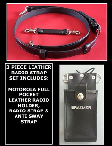 Leather Firefighter 1.5 inch wide Radio Strap & Motorola Full Pocket Holder Set Solid Black