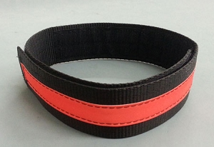 Fire Hose Strap XL SIZE  - Black w/3M Orange Scotchlite Reflective