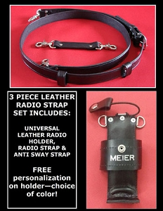 Firefighter Leather Radio Strap & Holder Set Solid Black