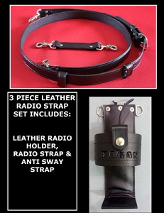 Firefighter Leather 1.5 inch wide Radio Strap & Universal Holder Set Solid Black - Optional Embossing