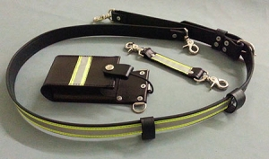 Firefighter Leather 1.5 inch wide Radio Strap & Holder Set Full Pocket 3M Triple Yellow Reflective