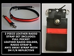 Firefighter Leather Radio Holder & Strap Set Full Pocket 3M Solid Orange Reflective