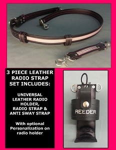 Firefighter Leather Reflective PINK LINE Radio Strap & Holder Set