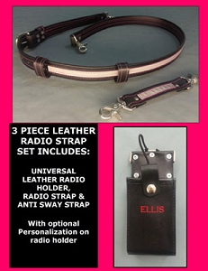 Leather Firefighter Reflective PINK LINE Radio Strap & Motorola Full Pocket Holder Set