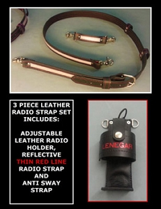 Leather Firefighter Reflective Radio Strap & Holder Set