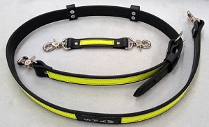 Firefighter Leather Radio Strap 1.5 inch wide - 3M Fire Resistant Lime Yellow Reflective
