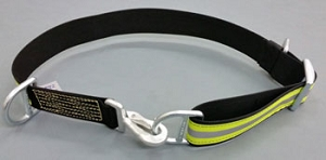 Nylon Firefighter Truckman's Escape Belt - Black w/3M Triple Yellow Reflective Stripe