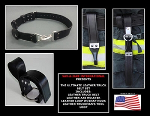 Leather Firefighter Truck Belt Set